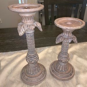 Set of 2 decorative candle holders centerpieces